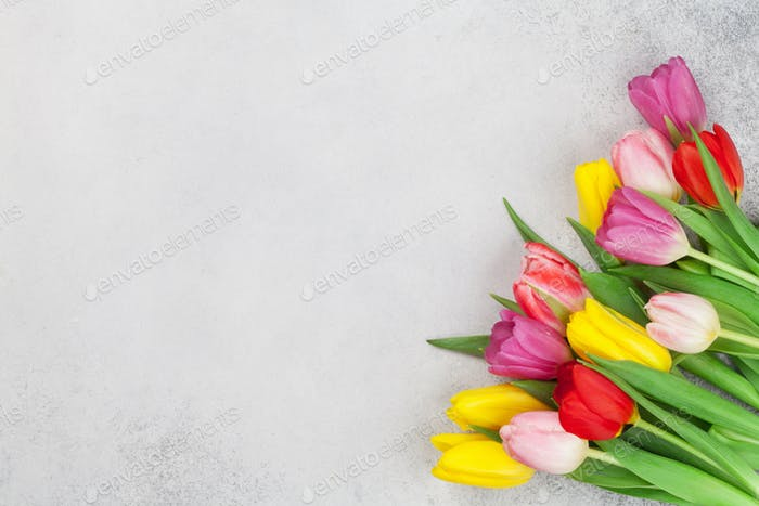 Easter greeting card with spring tulips