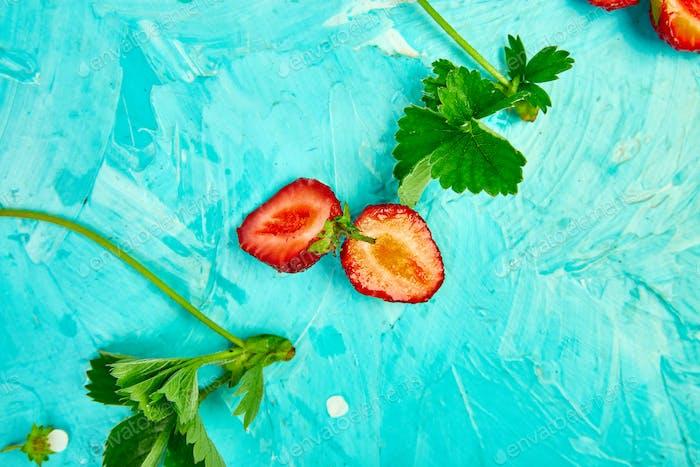 Strawberries in white basket.