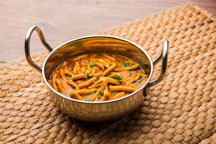 Indian Dhaba style Sev bhaji, sabzi, curry made in tomato curry