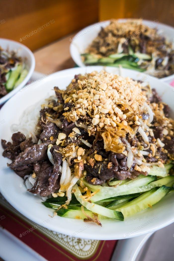 Vietnamese Bun Bo Nam Bo pork meat with noodles