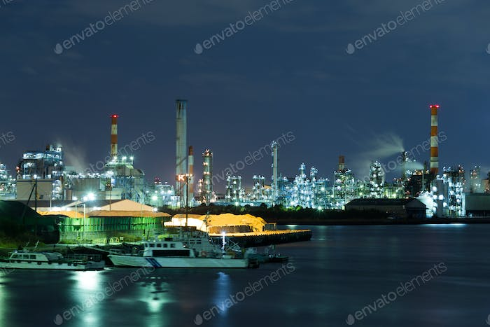 Seaside Industrial Factory working at night