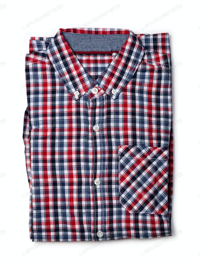 Top view of red and blue checkered shirt folded