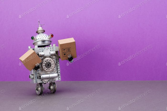 A two-wheeled robot courier is holding parcels cardboard boxes.