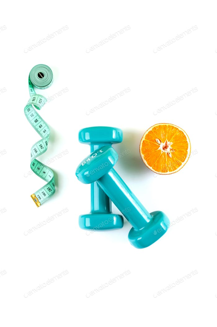 Dumbbells, a centimeter and half an orange on a pure white backg