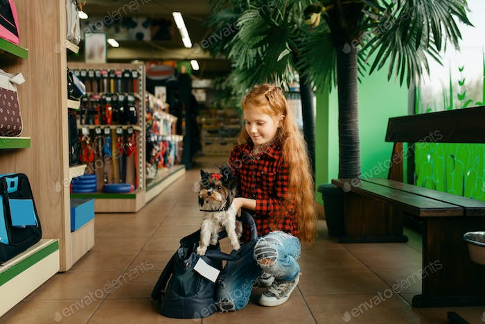 Little girl puts her puppy in bag, pet store