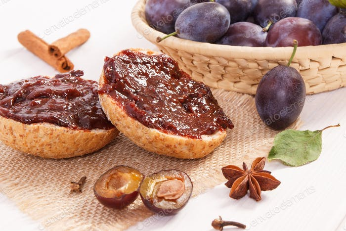Fresh prepared sandwiches with plum marmalade or jam, breakfast concept