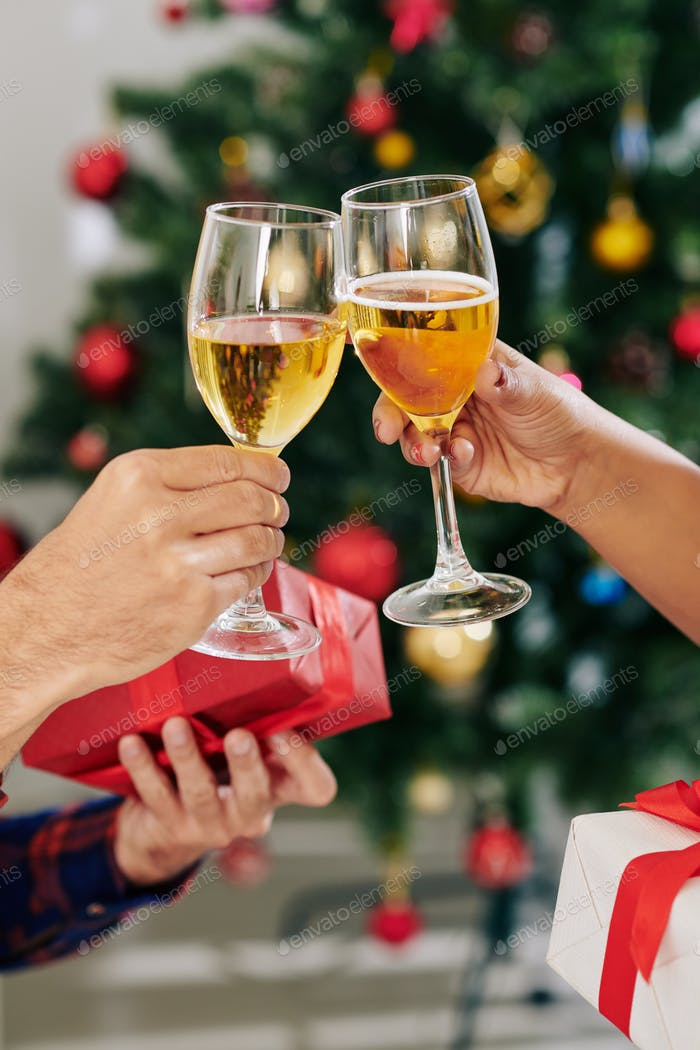 Toasting at Christmas party