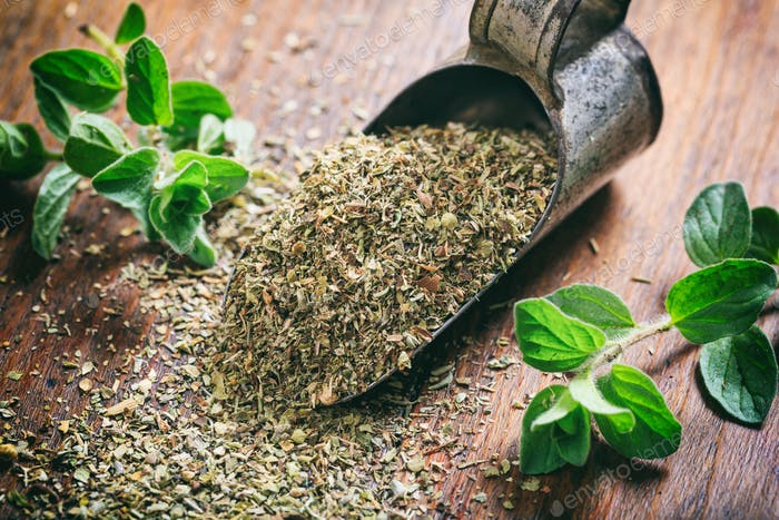 Fresh and dried oregano on a wooden table
