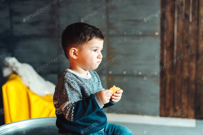 little boy eating delicious cookies