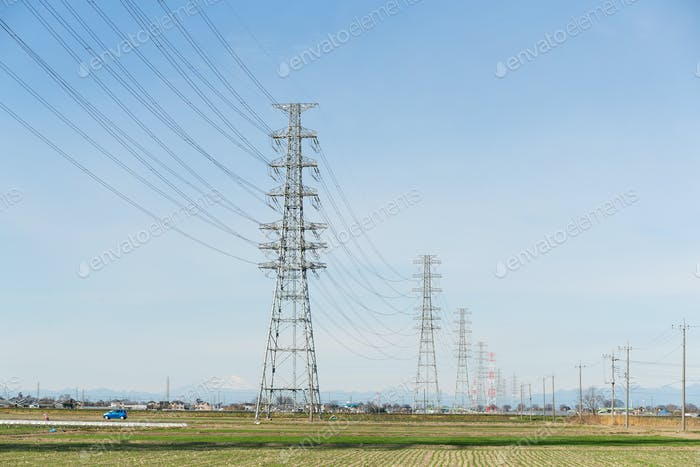 Power lines in countryside