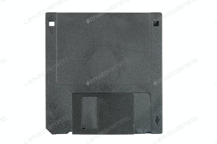 Black floppy disk on white background