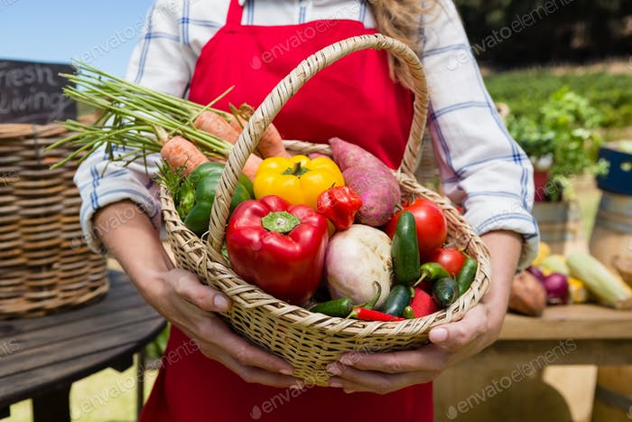 Mid section of woman holding a basket of fresh vegetables at stall