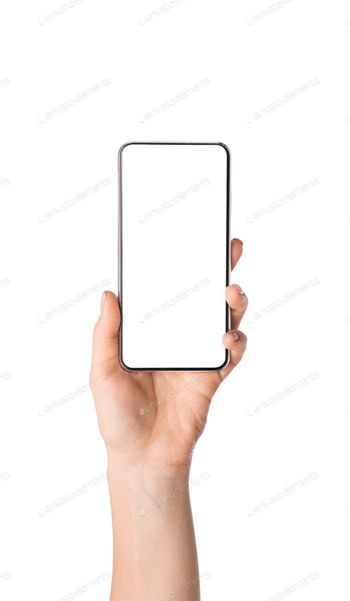 Female hand demonstrating new smartphone with blank screen