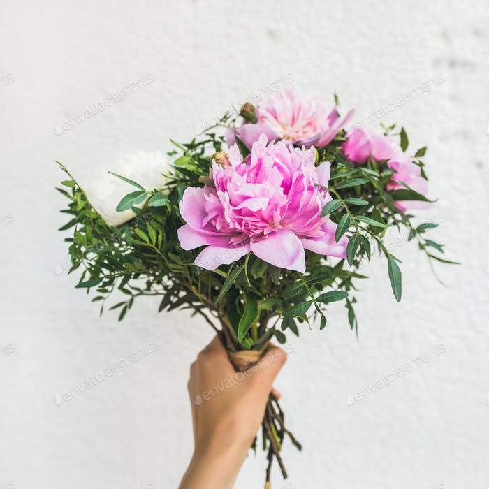 Bouquet of pink and white peony flowers, square crop