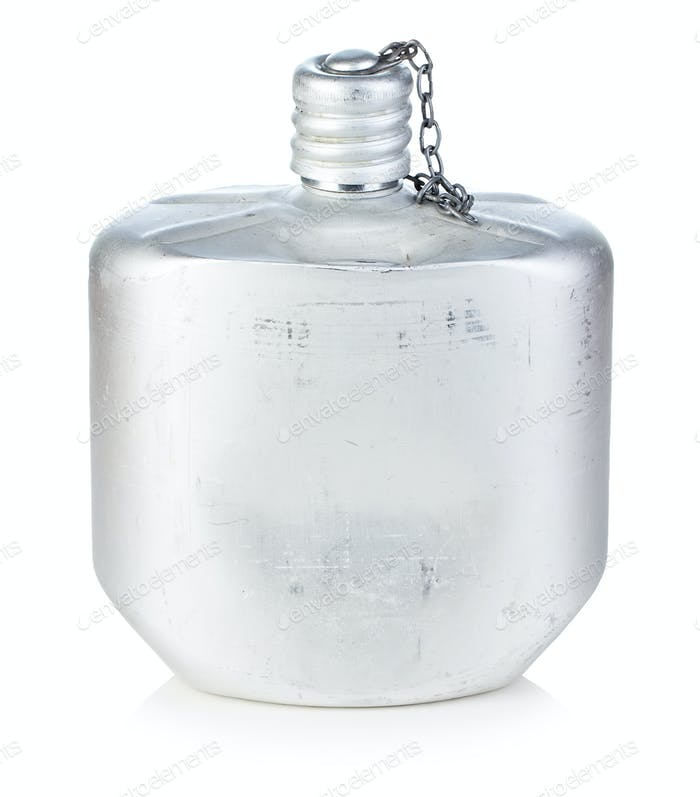 Army aluminum flask isolated on white background.