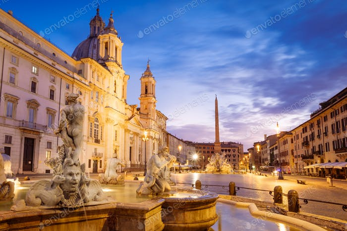 Scenic view of Piazza Navona in Rome before sunrise