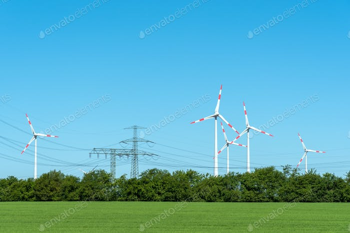 High voltage power lines and wind turbines