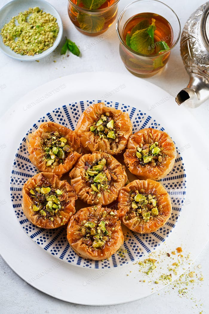 Middle eastern, arab sweet pastry baklava, top view.