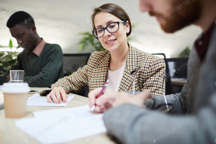 Business Manager in Meeting