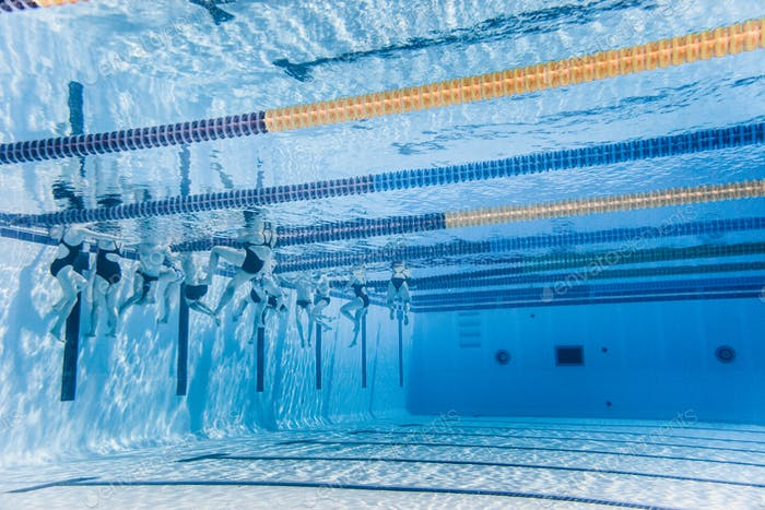Unrecognizable Professional Swimmers Training