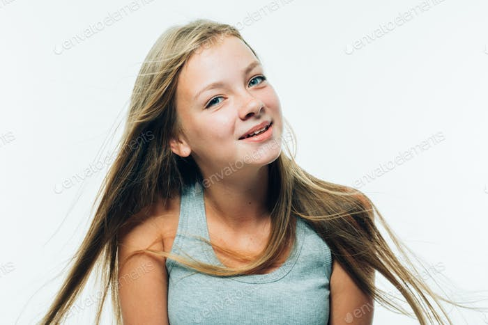 Beautiful teenager girl model freckles long hair portrait