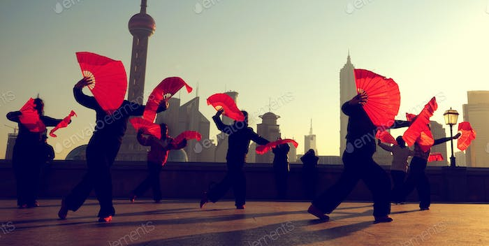 Traditional Chinese Culture Dance Showing Concept