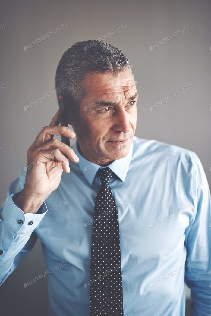 Confident mature businessman having a conversation on a cellphone