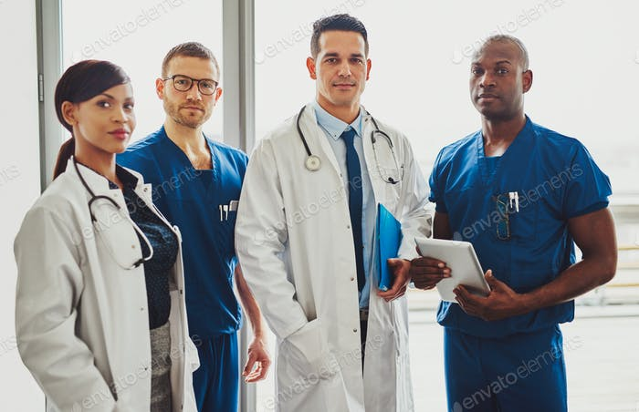 Multiracial team of doctors in a hospital