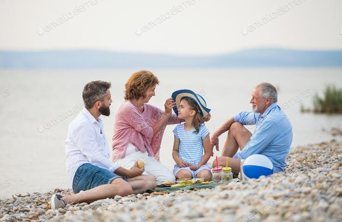 Multigeneration family on a holiday by the lake, having picnic.