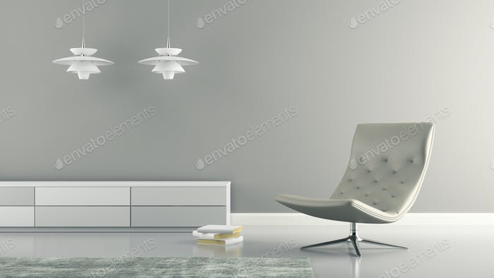 Part of  interior with white lamps and armchair 3D rendering