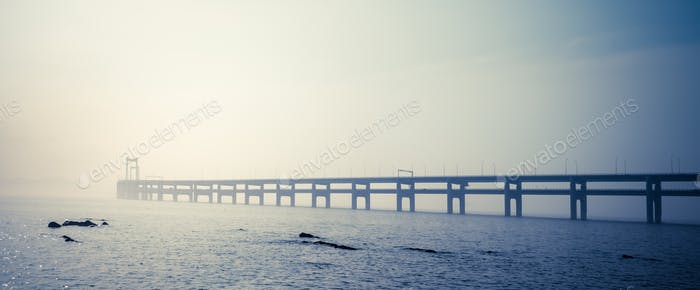 dalian bay bridge panorama