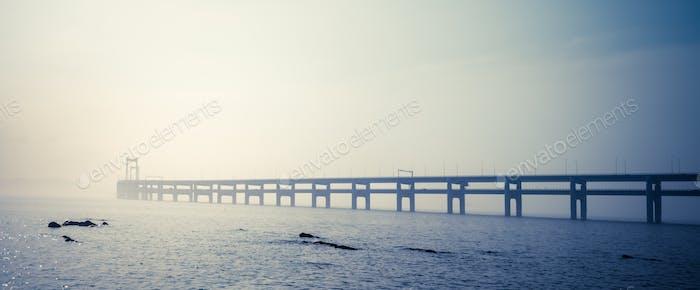 dalian bay bridge panorama