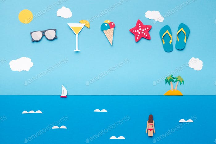 Summer concept wallpaper with beach accessories in the sky