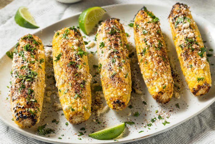 Homemade Spicy Elote Mexican Street Corn