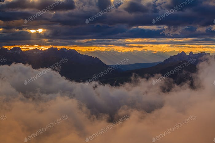 sunset in Dolomite Alps, Italy