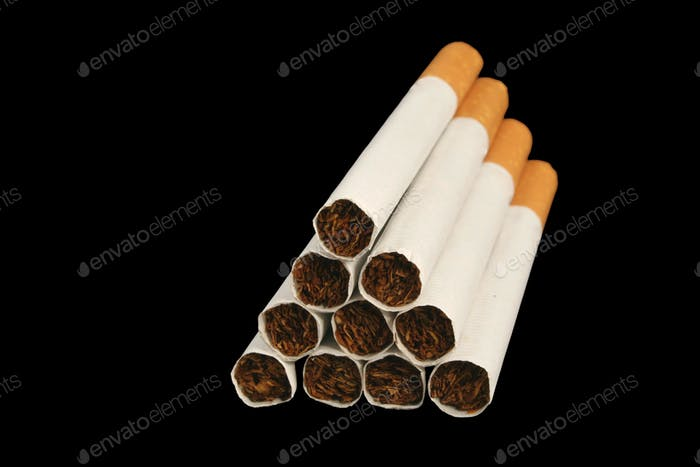 Isolated Cigarettes on a black background