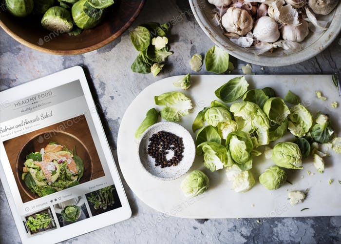 Aerial view of brussle sprouts with digital tablet