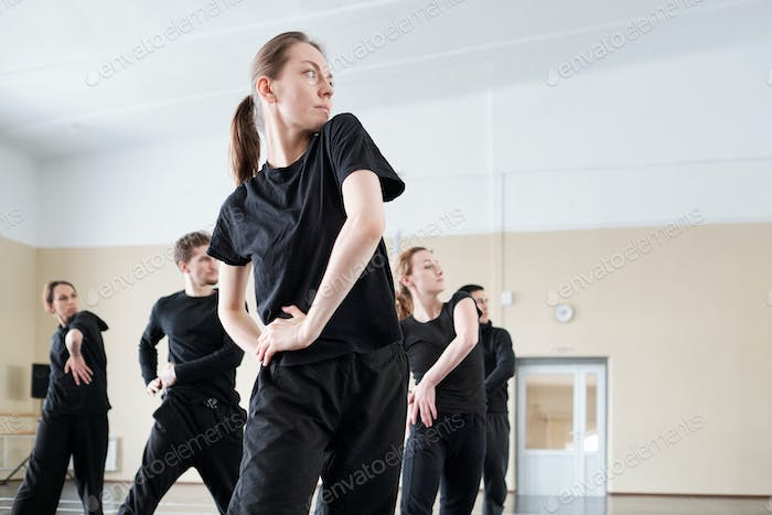 Group Of Dancers Working In Studio