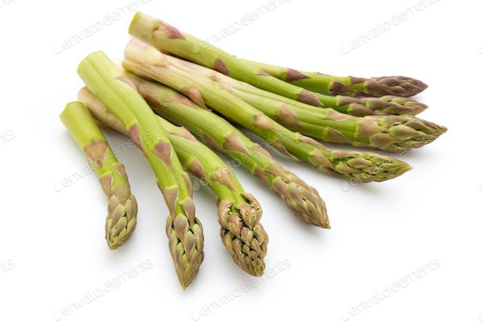Eco asparagus on white background. Fresh vegetables.