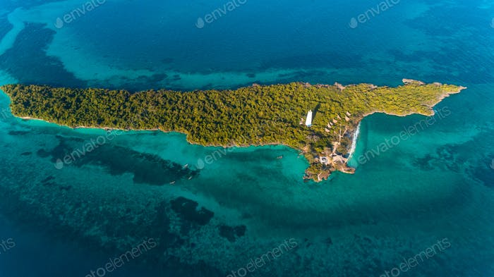 aerial view of the chumbe island coral park, Zanzibar