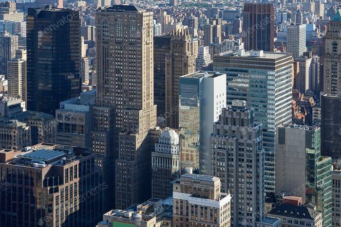 New York City Manhattan skyline aerial view with skyscrapers in the morning