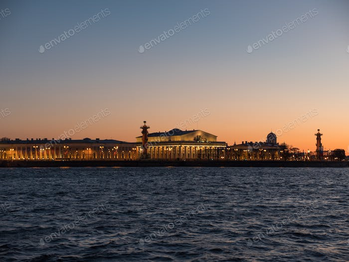 Sky of the sunset over the exchange of Vasilievsky island. Saint Petersburg, Russia