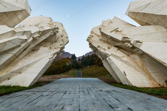 Tjentiste World War II monument,Sutjeska National Park, Bosnia a