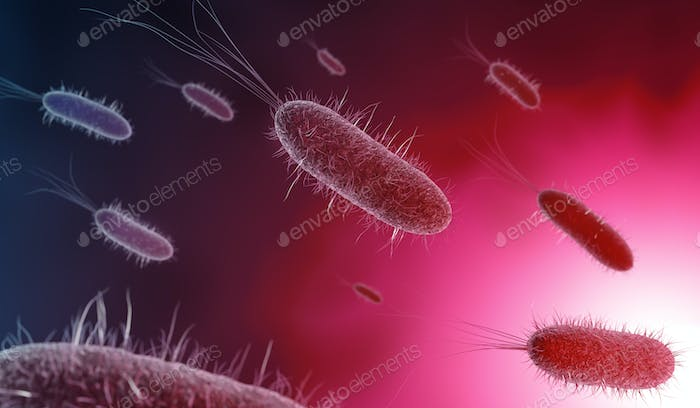 3d illustration of bacteria in pink background