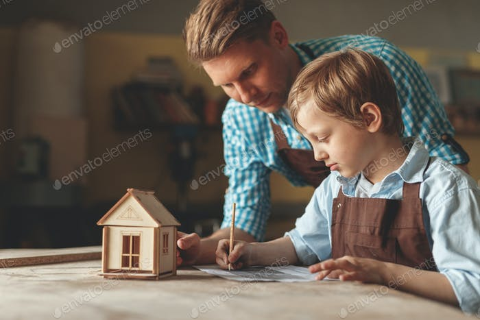 Young family in carpentry