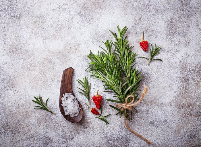 Rosemary, sea salt and red pepper.