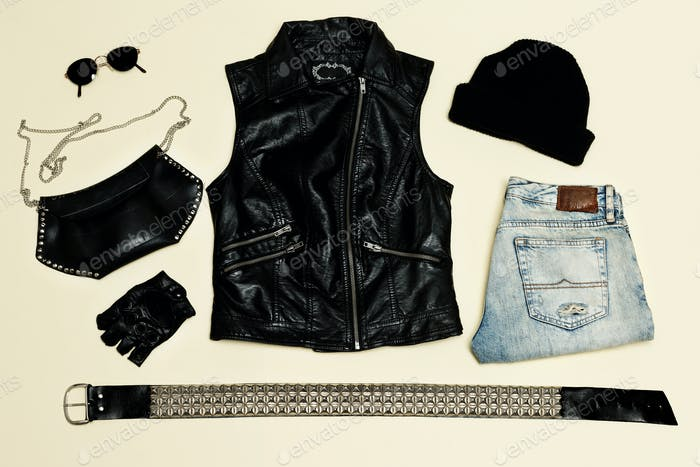 Black fashion set.  Black Vest and black accessories. Glasses  G