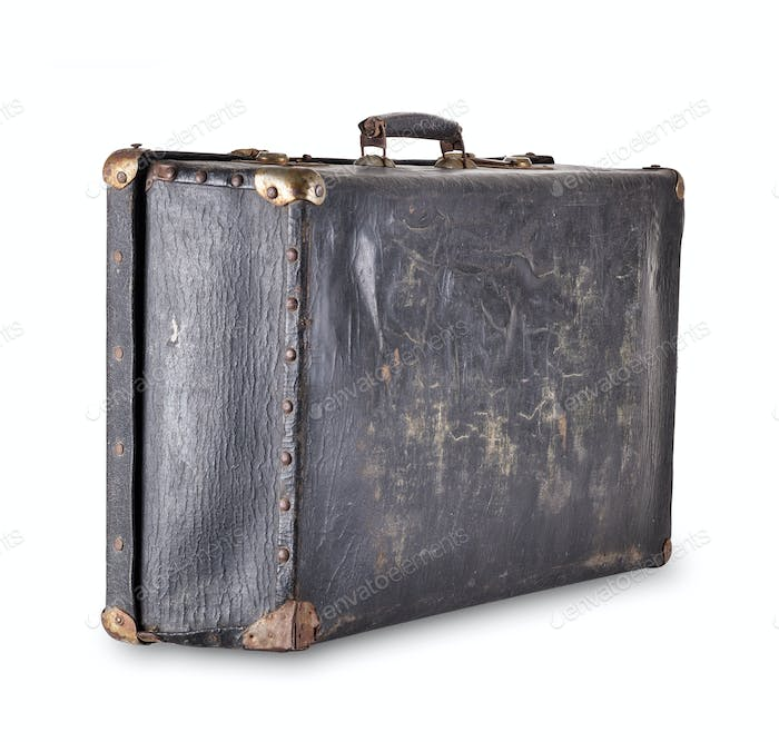 Old worn black suitcase