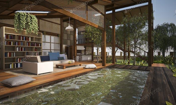 3D Rendering Holz Wohnzimmer Terrasse und Lounge mit Poolmöbeln
