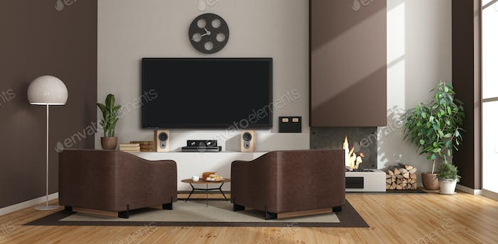 Modern living room with fireplace,armchairs and tv set